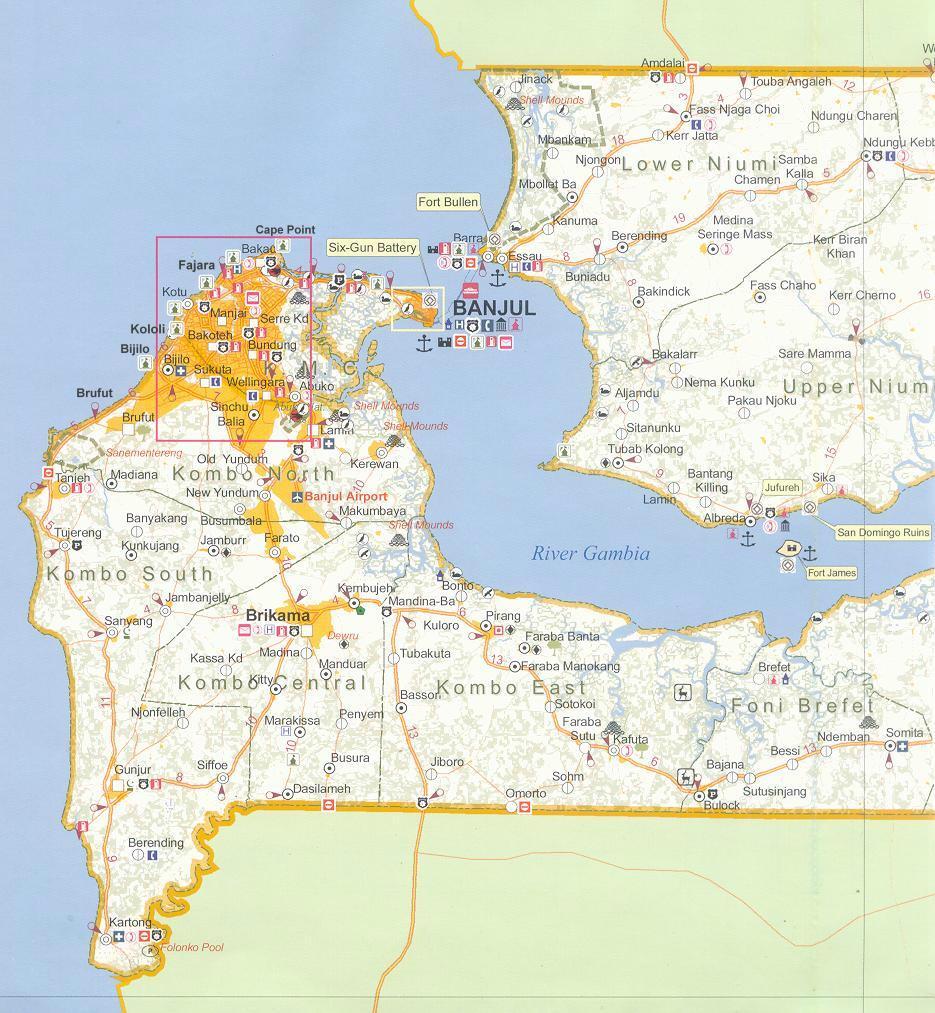 Worksheet. Gambia West Coast Map  large
