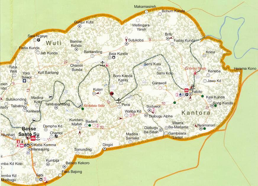 Basse Map with Wuli Kantor Fatoto Gambia