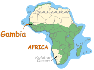 Where is Gambia in Africa? (map)